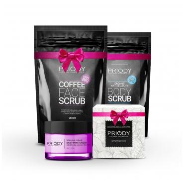 Kávový píling na tvár + Kávovo-kokosový píling proti celulitíde + Hydratačný krém