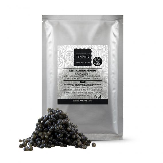 PRIODY - Revitalizačná, liftingová, peptidová pleťová maska s HA, kolagénom, kaviárom, zeleným čajom a uhorkovým extraktom (5ks)