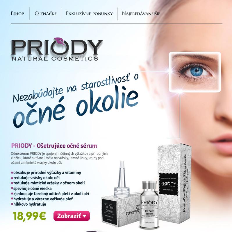 Starostlivosť o očné okolie s kozmetikou PRIODY